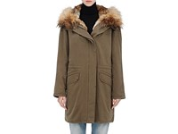 Army By Yves Salomon Cotton Parka And Removable Fur Lining A0047 Treil Nat