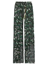 Adriana Degreas Ginkgo Print Wide Leg Silk Trousers Green Multi