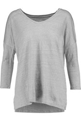 Majestic Slub Stretch Linen Top Gray