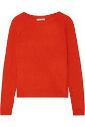 Vince Ribbed Cashmere Sweater Papaya