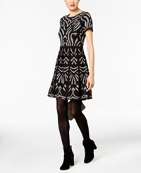 Eci Fit And Flare Sweater Dress Black Grey