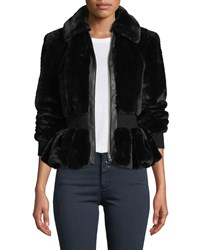 Rebecca Taylor Zip Front Faux Fur Peplum Jacket Black
