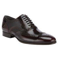 John Lewis Kin By Archie Brush Off Leather Brogue Shoes Burgundy