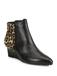 Tod's Leather And Leopard Print Pony Hair Point Toe Wedge Booties Black Brown