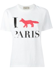 Maison Kitsune I Fox Paris T Shirt White