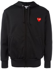 Comme Des Garcons Play Embroidered Heart Hoodie Black