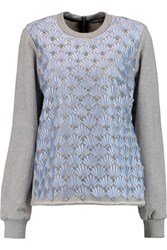 Markus Lupfer Sophia Embellished Silk Organza And Cotton Sweatshirt Gray