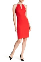 Betsey Johnson Sleeveless High Neck Sheath Dress Red