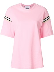 Koche Ribbed Insert T Shirt Pink And Purple