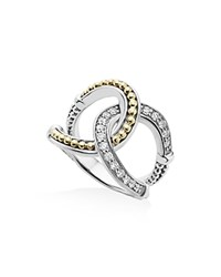 Lagos 18K Gold And Sterling Silver Enso Interlocking Ring With Diamonds Silver Gold
