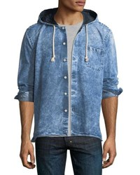 Culturata Button Up Denim Hoodie Blue