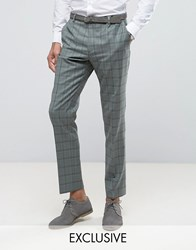 Heart And Dagger Slim Suit Trouser In Summer Wedding Check Mint Green