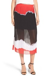 Trouve Women's Print Pleated Midi Skirt Black Jagged Texture