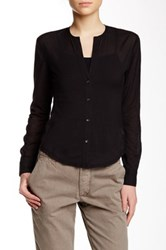 James Perse Slim Collarless Button Up Blouse Black
