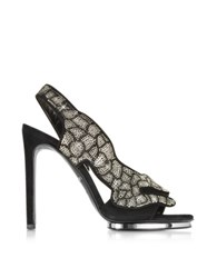 Roberto Cavalli Black Suede And Crystals Panther Sandal