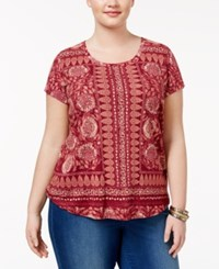Lucky Brand Trendy Plus Size Printed T Shirt Red Multi