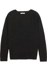 Vince Tie Back Ribbed Cotton And Cashmere Blend Sweater Black