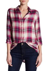 Lucky Brand Plaid Side Button Shirt Pink
