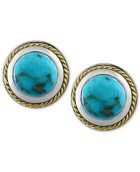 Effy Collection Turquesa By Effy Manufactured Turquoise Button Stud Earrings 1 Ct. T.W. In Sterling Silver And 18K Gold Blue