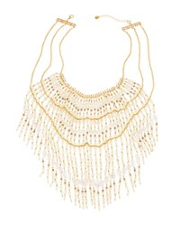 Lydell Nyc Multicolored Pearl Statement Bib Necklace White