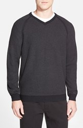 Men's Big And Tall Tommy Bahama 'Make Mine A Double V Neck' Raglan Pullover Coal
