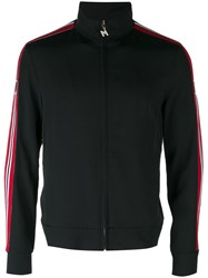 Msgm Side Stripe Zip Cardigan Black