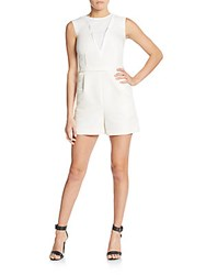 1 By O'2nd Honeycomb Jacquard Knit Short Jumpsuit White