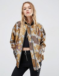 Asos Bomber Jacket In Floral Jacquard With Tipped Rib Multi