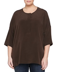 Go Silk Silk Dolman Sleeve Tunic Chocolate