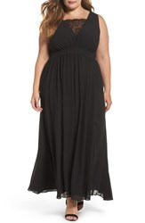 Soprano Plus Size Women's Lace Inset Maxi Dress Black