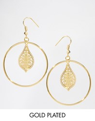 Ny Lon Nylon Gold Plated Filigree Hoop Drop Earrings Gold Plated