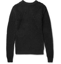 Rick Owens Biker Level Open Knit Cotton Sweater Black