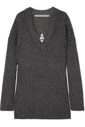 Alexander Wang Dream Catcher Embellished Cutout Ribbed Wool Blend Sweater Black