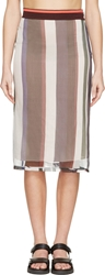 Marni Green And Ivory Striped Chiffon Skirt