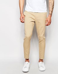 Asos Super Skinny Cropped Trousers Camel Stone
