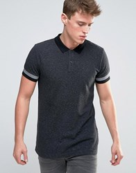 Esprit Slim Fit Polo Shirt With Cuffed Arm Detail Black