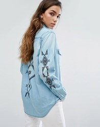 Replay Denim Shirt With Embroidery 010 Mid Blue