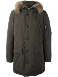 Moncler Rabbit Fur Trim Padded Parka Green