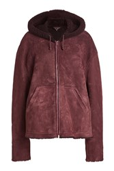 Yeezy Suede And Shearling Jacket With Hood Red