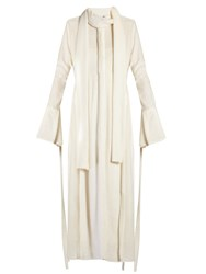Ellery Valour Pussybow Neck Fil Coupe Midi Dress White