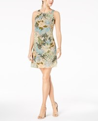 Robbie Bee Petite Printed Chiffon A Line Dress Olive Multi