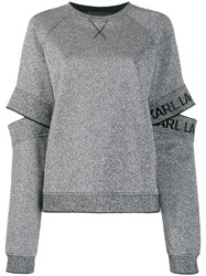 Karl Lagerfeld Cut Out Sleeve Sweatshirt Silver