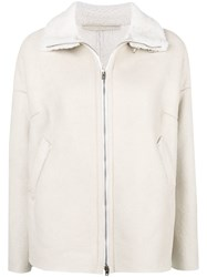 Salvatore Santoro Shearling Collar Jacket White