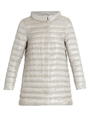 Herno Funnel Neck Quilted Down Coat Silver