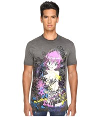 Dsquared Long Cool Fit Punk Manga Gang T Shirt Dark Grey