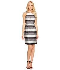 Jessica Simpson Striped Halter Sateen Dress Black White
