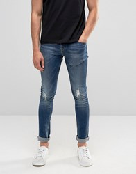 Pull And Bear Pullandbear Super Skinny Jeans In Mid Wash Blue With Abrasions Blue
