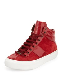 Jimmy Choo Belgravi Men's Leather High Top Sneaker Red