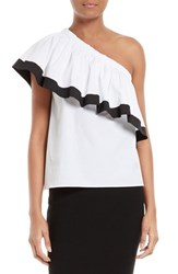 Milly Women's One Shoulder Ruffle Top