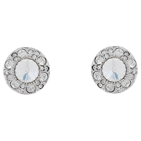 Cachet London Rhodium Plated Swarovski Crystal Surround Earrings Silver